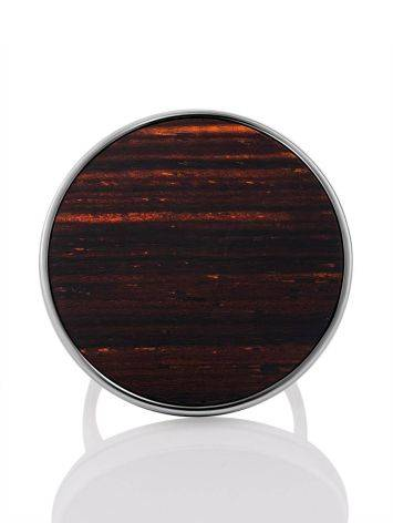Geometric Design Silver Wooden Ring, Ring Size: 9.5 / 19.5, image , picture 4