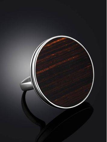 Geometric Design Silver Wooden Ring, Ring Size: 9.5 / 19.5, image , picture 2