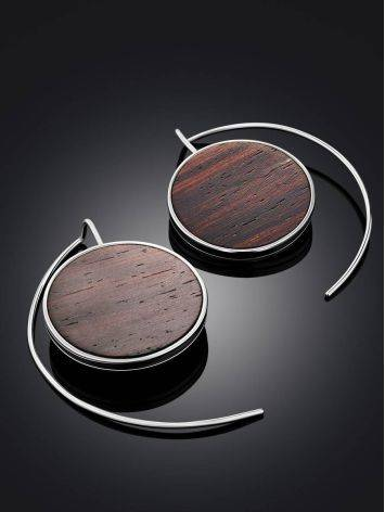 Geometric Silver Wooden Earrings, image , picture 2
