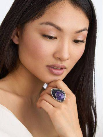 Fabulous Silver Cocktail Ring With Charoite And Denim, Ring Size: 8.5 / 18.5, image , picture 3