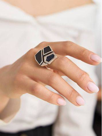 Bold Silver Ring With Volcanic Glass And Denim, Ring Size: 9.5 / 19.5, image , picture 3