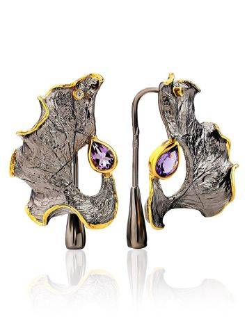 Abstract Design Silver Amethyst Earrings, image