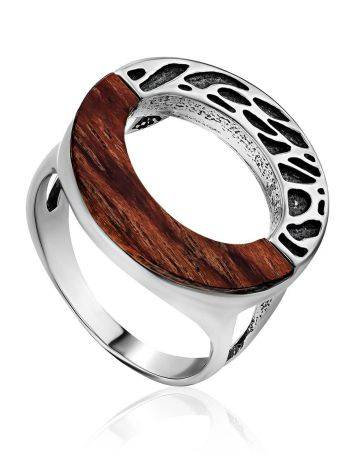Bold Geometric Silver Wooden Ring, Ring Size: 8.5 / 18.5, image