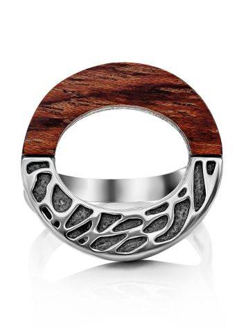 Bold Geometric Silver Wooden Ring, Ring Size: 8.5 / 18.5, image , picture 4
