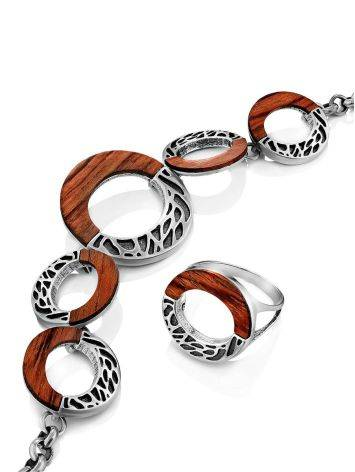 Bold Geometric Silver Wooden Ring, Ring Size: 8.5 / 18.5, image , picture 5