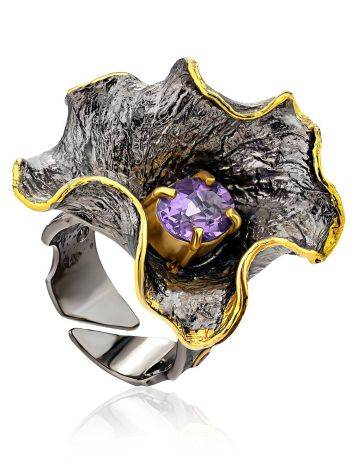 Amazing Abstract Design Silver Amethyst Ring, Ring Size: Adjustable, image
