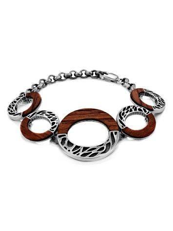 Designer Silver Wooden Bracelet, image