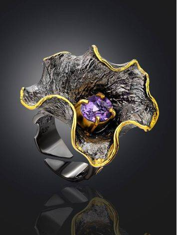 Amazing Abstract Design Silver Amethyst Ring, Ring Size: Adjustable, image , picture 2