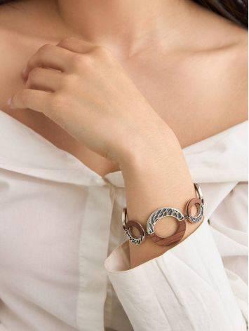 Designer Silver Wooden Bracelet, image , picture 3