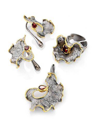 Fabulous Silver Garnet Adjustable Ring, Ring Size: Adjustable, image , picture 4