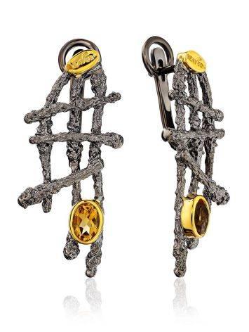 Futuristic Design Silver Citrine Earrings, image