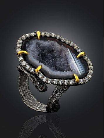 Fabulous Agate Geode Ring, Ring Size: Adjustable, image , picture 2