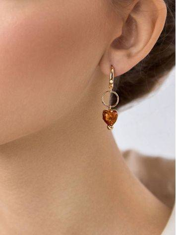 Rose Gold Plated Silver Earrings With Heart Shaped Amber Dangles The Palazzo, image , picture 2