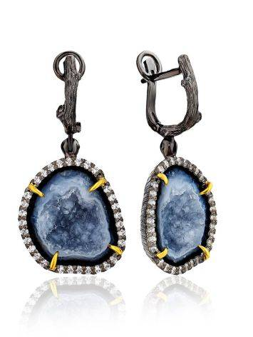 Stunning Silver Dangles With Bold Agate Geode And Crystals, image