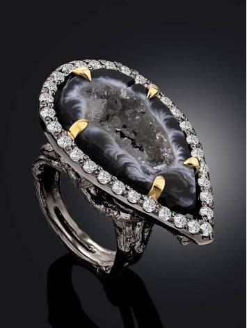 Fabulous Agate Geode Cocktail Ring, Ring Size: 7 / 17.5, image , picture 2