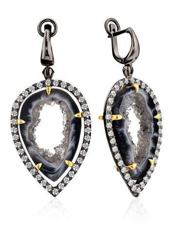 Impressive Design Silver Dangles With Agate Geode And Crystals, image