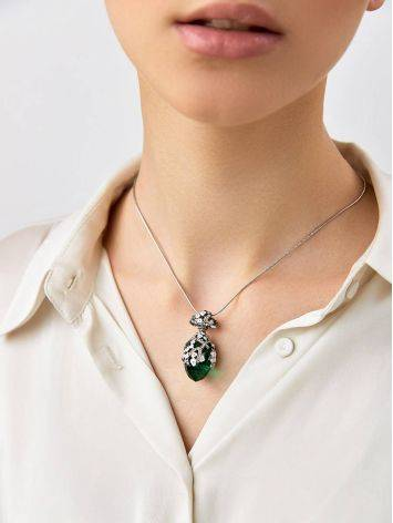 Lustrous Faceted Green Crystal Egg Shaped Pendant The Romanov, image , picture 3