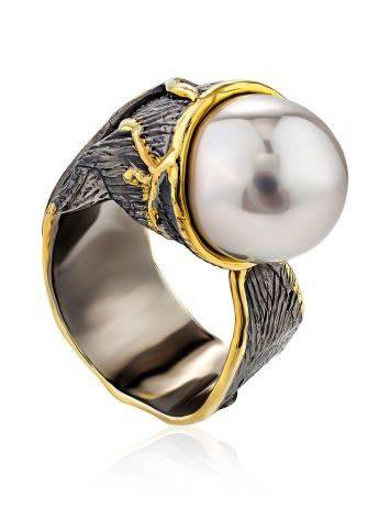Impressive Silver Adjustable Ring With Nacre, Ring Size: Adjustable, image