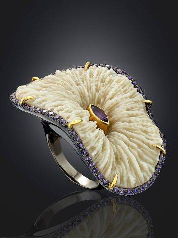 Unique Silver Cocktail Ring With Amethyst And Coral, Ring Size: 8.5 / 18.5, image , picture 2