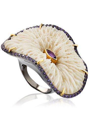Unique Silver Cocktail Ring With Amethyst And Coral, Ring Size: 8.5 / 18.5, image