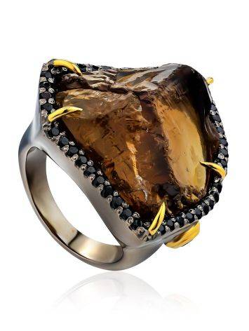 Silver Cocktail Ring With Bold Smoky Quartz And Spinel, Ring Size: 6.5 / 17, image