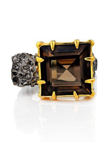 Geometric Designer Silver Ring With Smoky Quartz, Ring Size: 8 / 18, image , picture 3