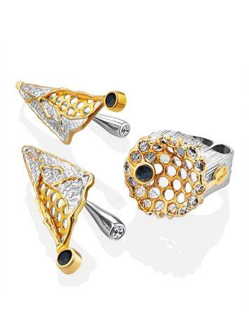 Honeycomb Motif Silver Sapphire Set, Ring Size: Adjustable, image , picture 4
