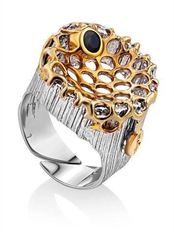 Honeycomb Motif Silver Sapphire Set, Ring Size: Adjustable, image