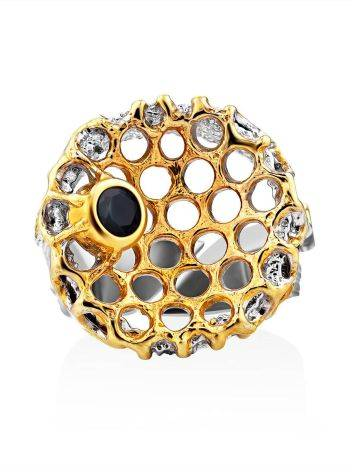 Honeycomb Motif Silver Sapphire Set, Ring Size: Adjustable, image , picture 3