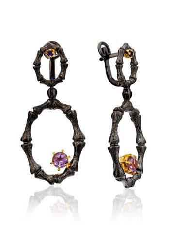 Fabulous Designer Silver Amethyst Dangle Earrings, image