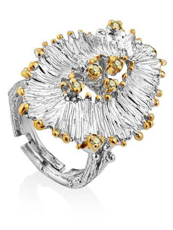 Voluminous Silver Chrysolite Cocktail Ring, Ring Size: Adjustable, image