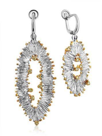 Asymmetric Design Silver Chrysolite Dangle Earrings, image
