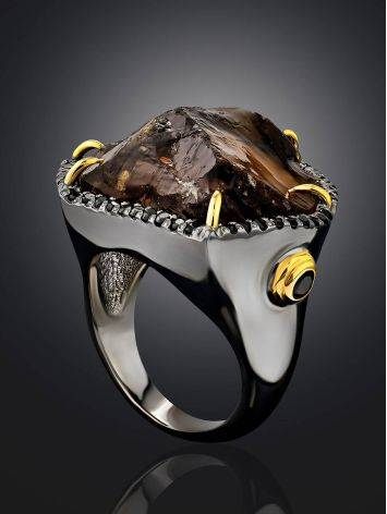Silver Cocktail Ring With Bold Smoky Quartz And Spinel, Ring Size: 6.5 / 17, image , picture 2