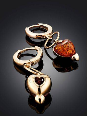 Rose Gold Plated Silver Earrings With Heart Shaped Amber Dangles The Palazzo, image , picture 4