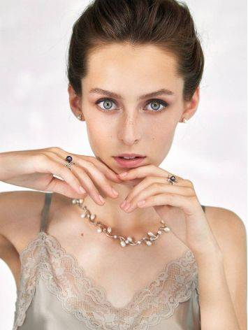Refined Silver Necklace With Pearl And Crystals, image , picture 5