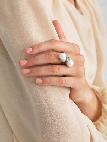 Fabulous Bypass Design Silver Pearl Ring, Ring Size: 7 / 17.5, image , picture 3