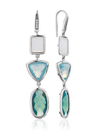 Silver Dangle Earrings With Moon Stone And Blue Agate, image