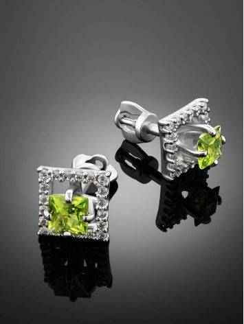 Geometric Silver Chrysolite Stud Earrings, image , picture 2