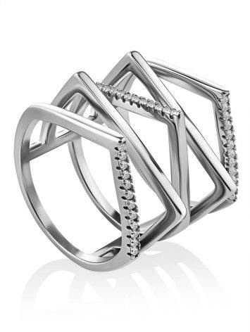 Geometric Multiband Silver Crystal Ring, Ring Size: 8 / 18, image
