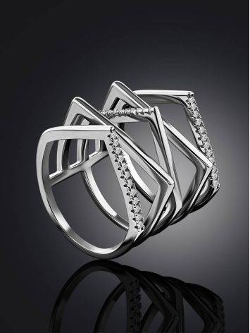 Geometric Multiband Silver Crystal Ring, Ring Size: 8 / 18, image , picture 2