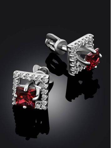 Classy Square Silver Studs With Red Stone And Crystals, image , picture 2