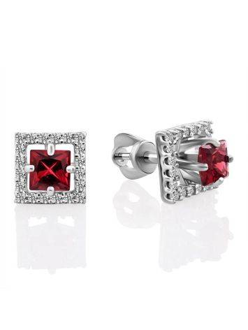 Classy Square Silver Studs With Red Stone And Crystals, image