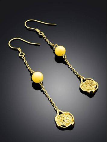 Gilded Silver Chain Dangle Earrings With Natural Amber The Palazzo, image , picture 2