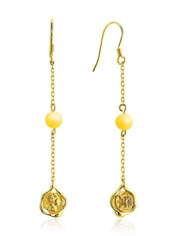 Gilded Silver Chain Dangle Earrings With Natural Amber The Palazzo, image