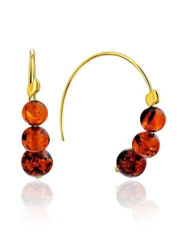 Threader Style Gilded Silver Amber Earrings The Palazzo, image