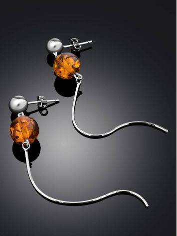 Refined Silver Chain Earrings With Natural Amber The Palazzo, image , picture 2