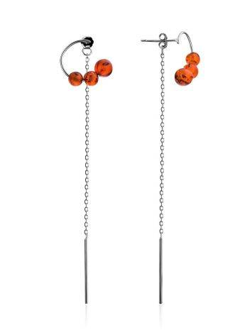 Refined Silver Chain Dangles With Natural Baltic Amber The Palazzo, image