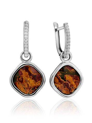 Classy Silver Transformable Dangles With Jasper And Crystals, image