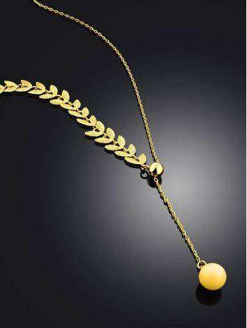 Leaf Motif Gilded Silver Amber Lariat Necklace The Palazzo, image , picture 2