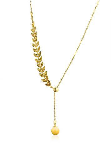Leaf Motif Gilded Silver Amber Lariat Necklace The Palazzo, image